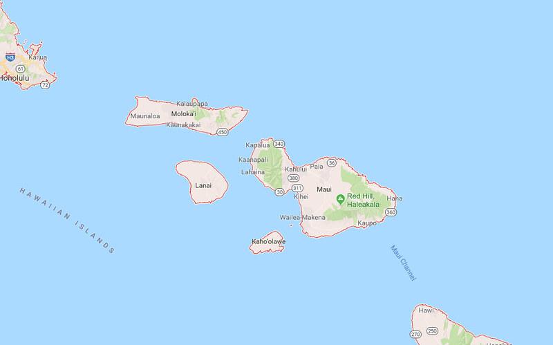 Lanai y Molokai Mapa