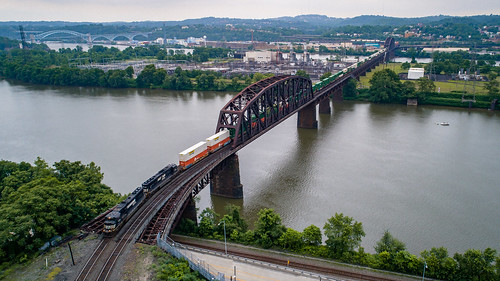 bridge dji djiphantom4pro drone ns ns1 ns20a ns2583 nsmonline norfolksouthern oc ocbridge ohioconnectingbridge ohioriver phantom4 sky train aerial aerialphotography dronephotography river steel trainbridge