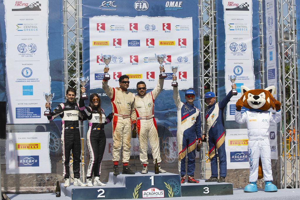GHOSH Amittrajit (ind), NAIK Ashwin (ind),  Ford fiesta R2, portrait FALCON Emma (esp), GONZALES DELGADO Eduardo (esp), Citroen DS3 R3T, portrait MURADIAN Arthur (rus), CHELEBAEV Pavel (rus), Peugeot 208 R2, portrait podium ambiance during the European Rally Championship 2018 - Acropolis Rally Of Grece, June 1 to 3 at Lamia - Photo Gregory Lenormand / DPPI