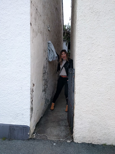 Natalie exploring a tiny alley!