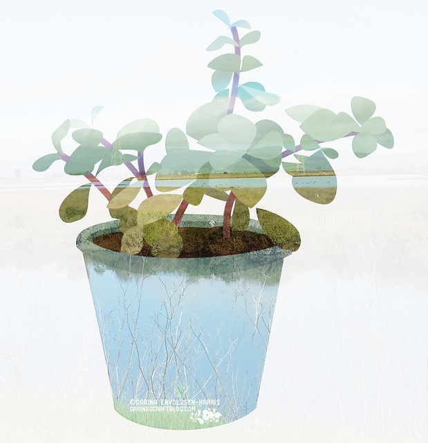 Double exposure plant illustration