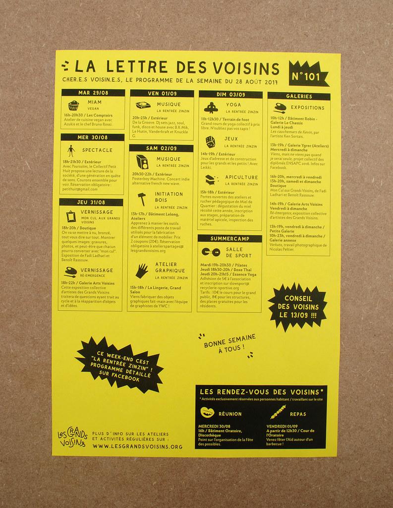 Chassis Atelier D Artiste 2015-2017 lettres des voisins + lettre mdm   yes we camp