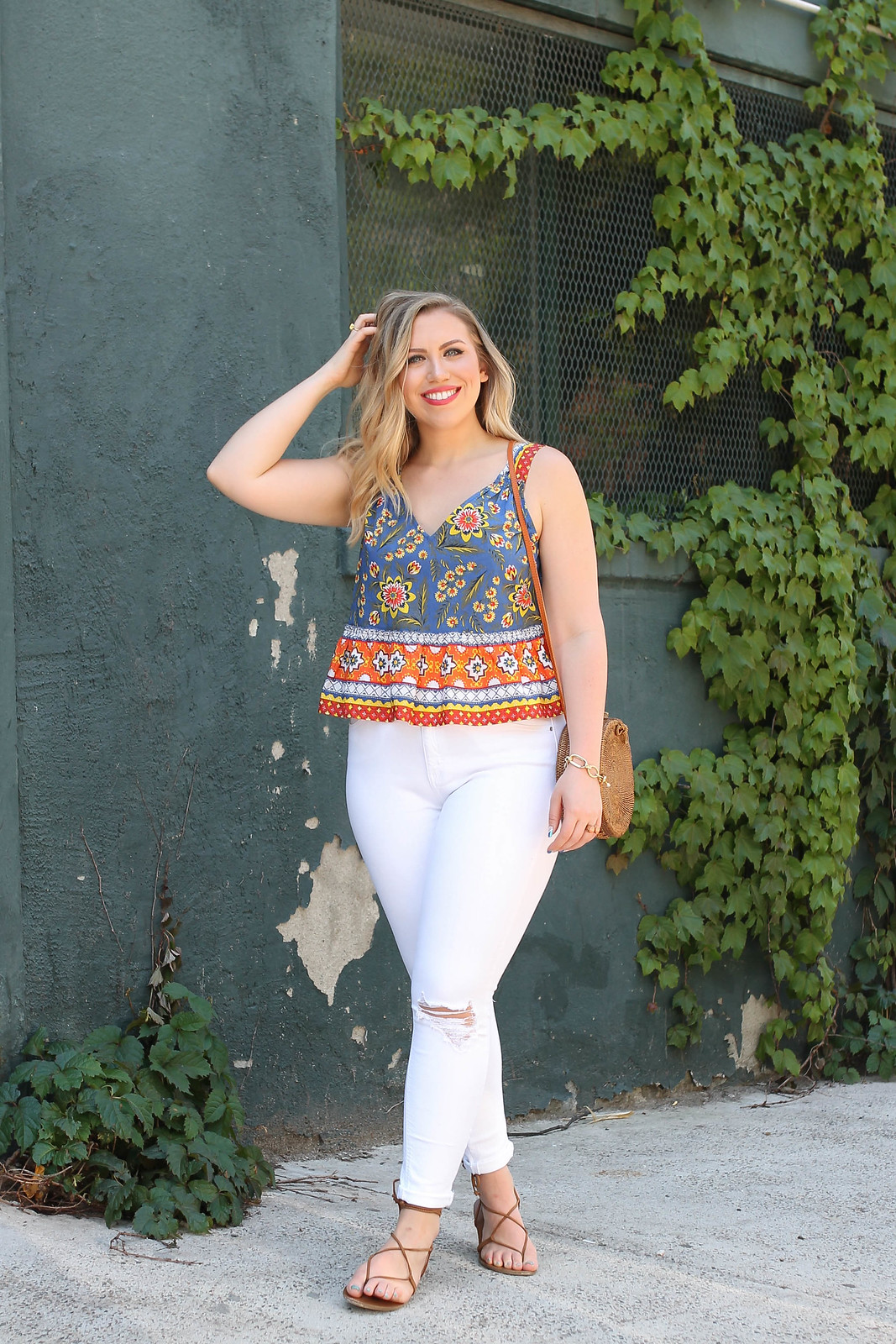 Joie Chinaru Floral Peplum Cotton Top Topshop Jamie White Jeans Summer Outfit Inspiration Jackie Giardina Living After Midnite Style Blogger