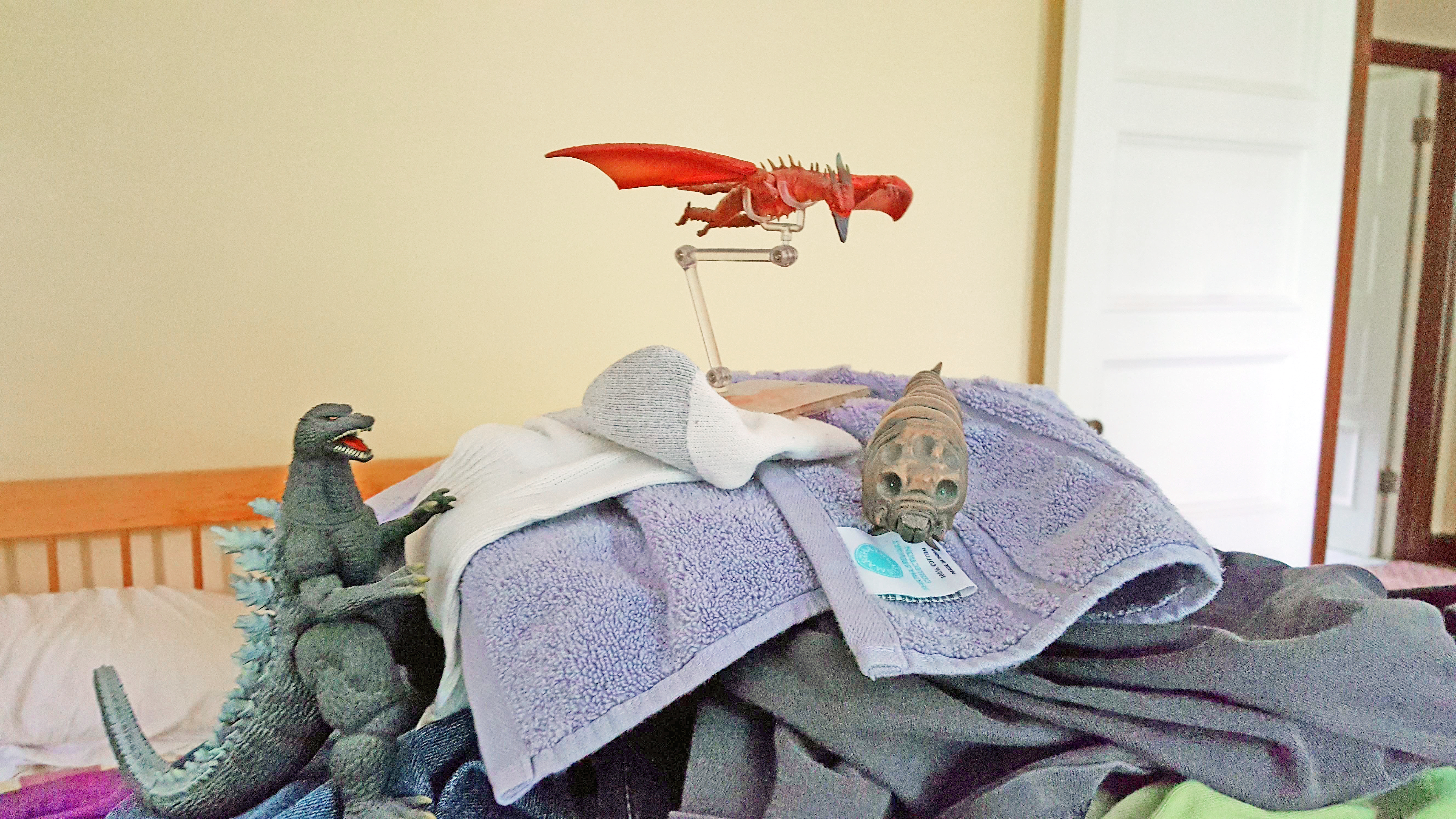 three atop the mount - Godzilla on Mount Laundry