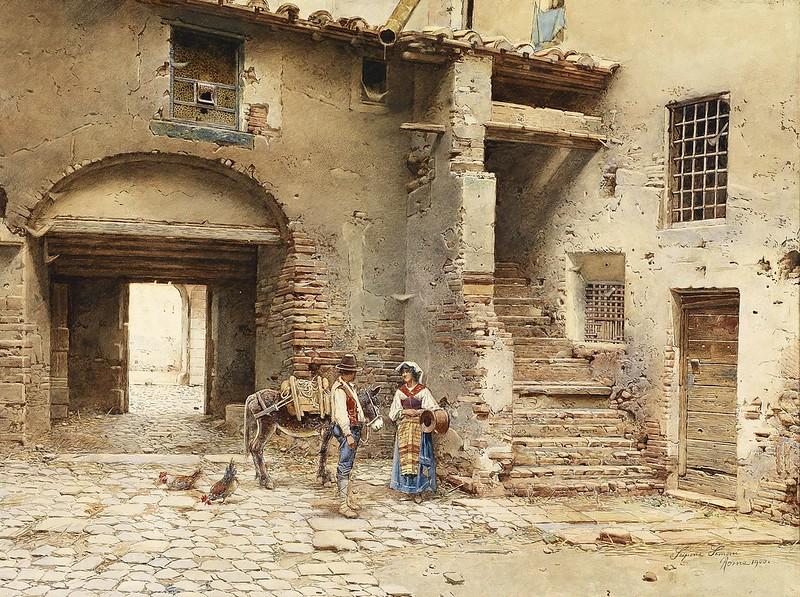 Scipione Simoni - Italienischer Hof mit einem jungen Paar (1900)