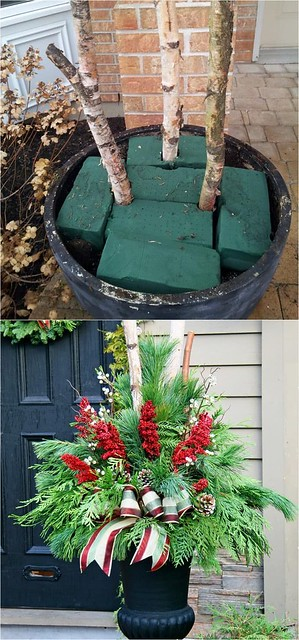 Outdoor DIY Inspiration : How to create colorful winter outdoor planters and beautiful Christmas planters ...