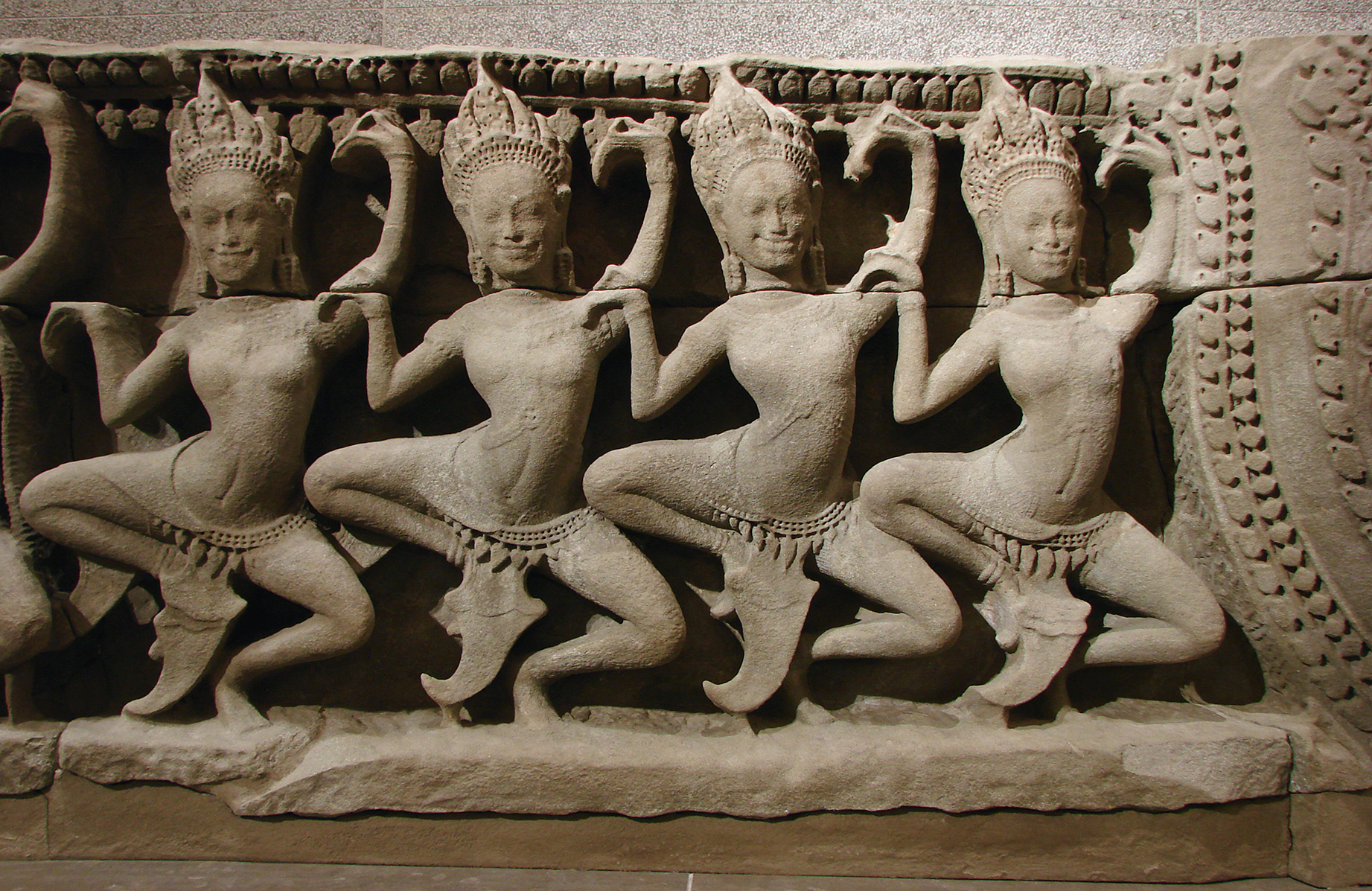 Apsaras dance depicted on the lower part of the pediment in the 12th-century Bayon temple at Angkor Thom in,Siemreap Province, Cambodia. Photo taken on September 23, 2007.