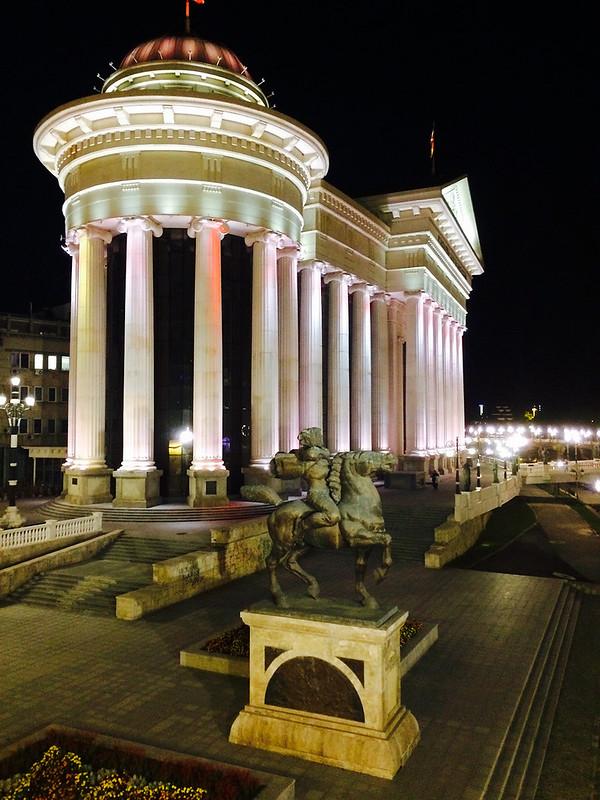 Monument of Karposh at night