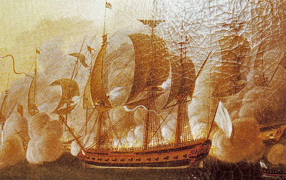An image of the French frigate Hermione in combat by Auguste Louis de Rossel de Cercy, 1788. The ship brought Lafayette to America in 1780.