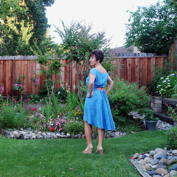 blue rayon dress back view 2