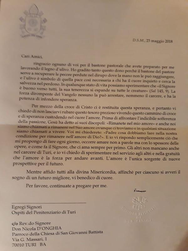 La lettera di Papa Francesco ai detenuti turesi