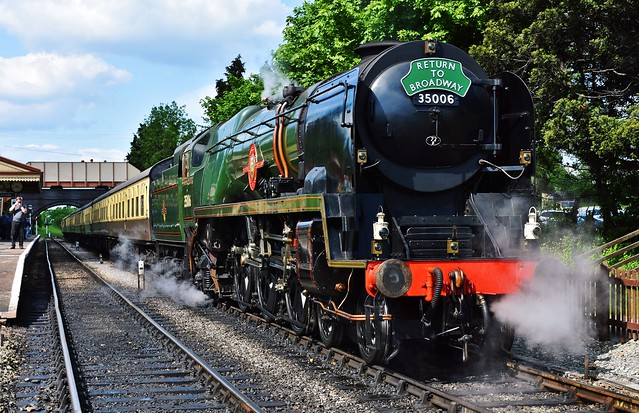 35006 Peninsular & Oriental S. N. Co. steam locomotive in Toddington, Gloucestershire