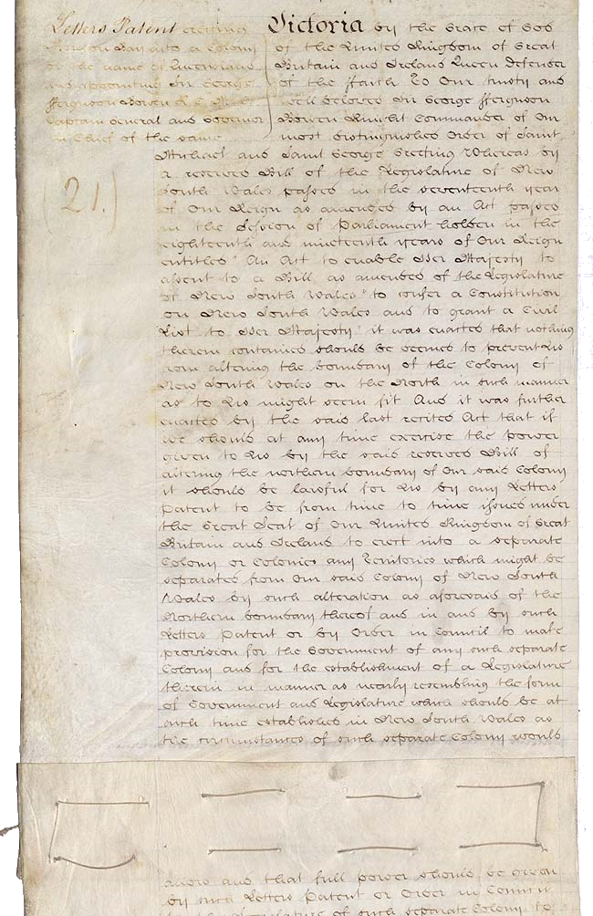 First page of the Letters Patent establishing the Colony of Queensland, signed by Queen Victoria on June 6, 1859, and published in the Royal Queensland Gazette on December 10, 1859.