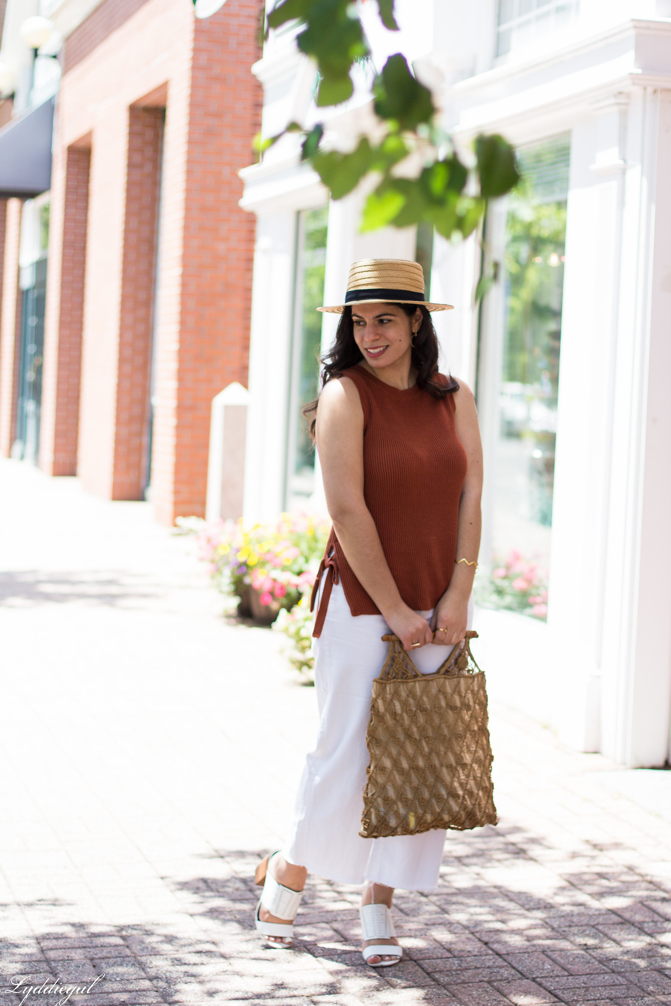 Rust Knit Tank, White wide leg jeans, straw hat, macrame bag-5.jpg