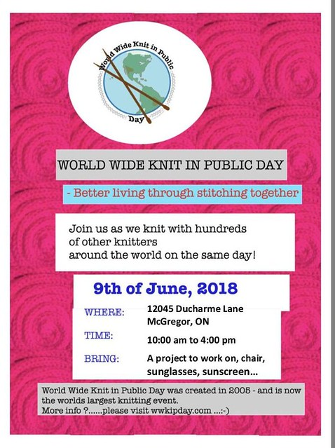 World Wide Knit in Public Day Event at Sue2Knits - Join in the fun!