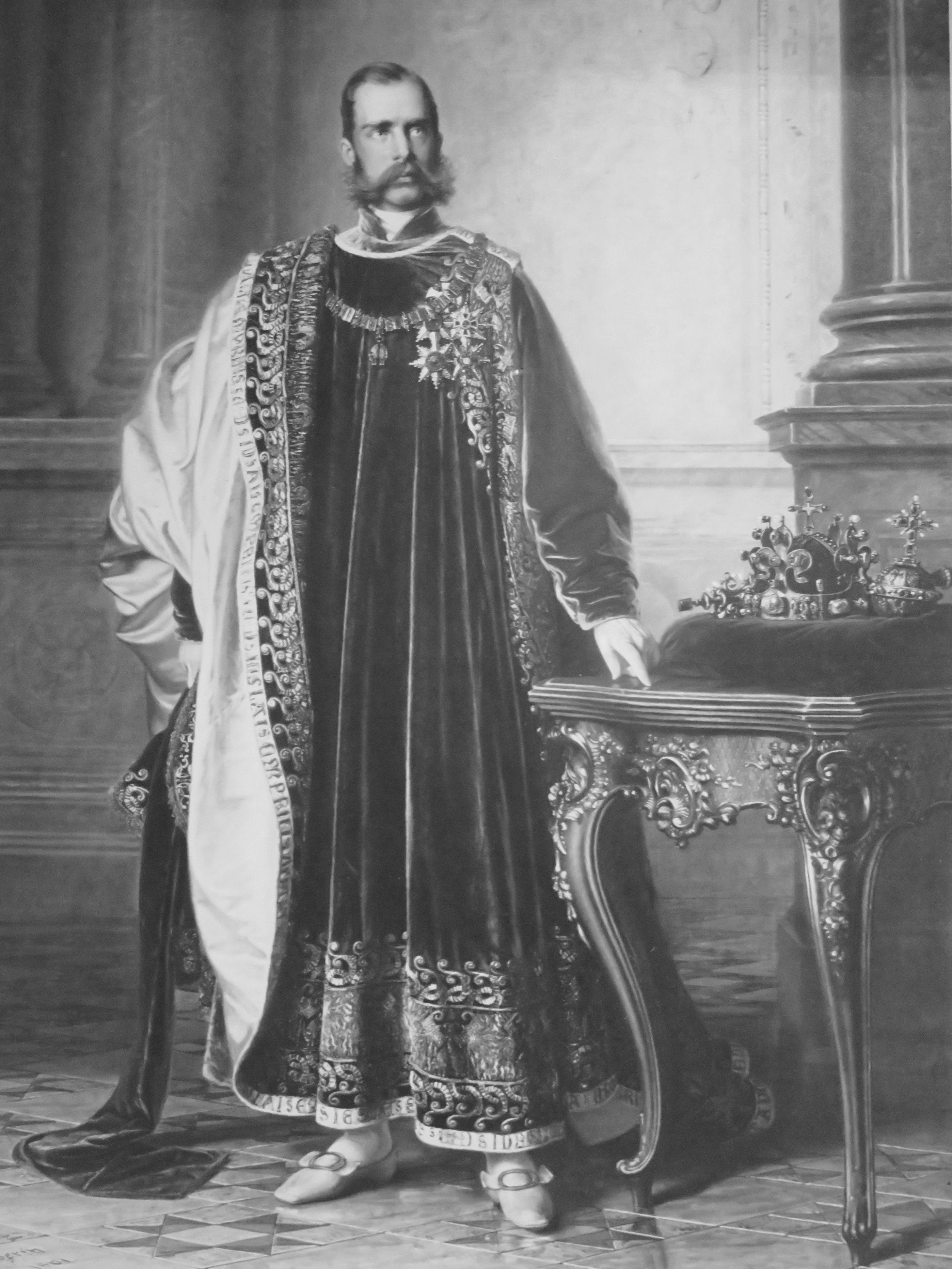 Emperor Franz Joseph in the robes of the Head and Sovereign of the Austrian Order of the Golden Fleece, next to the Crown of St. Wenceslas. Painted by Eduard von Engerth in Laxenburg 1861 for the Bohemian Diet in Prague, today in the collections of the National Museum in Prague.