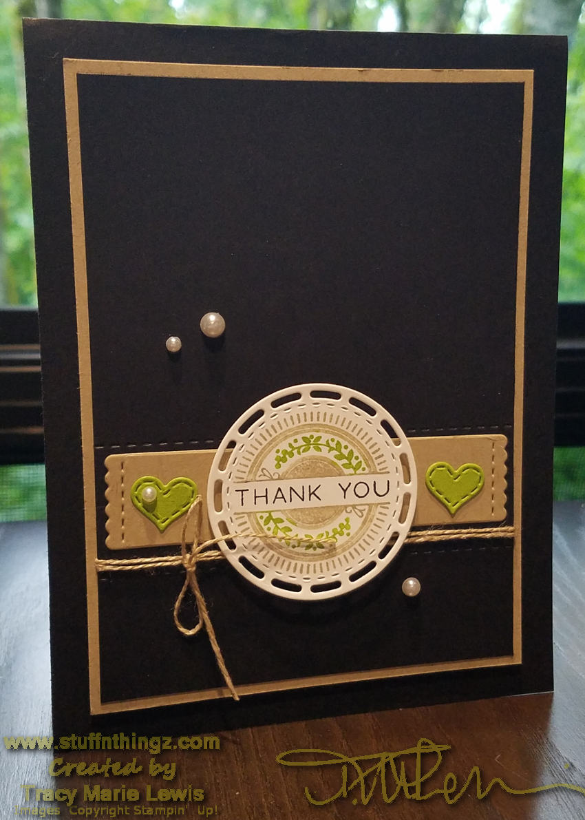June 2018 Kre8tors Blog Hop - Black Green & Tan Thank You Card | Tracy Marie Lewis | www.stuffnthingz.com