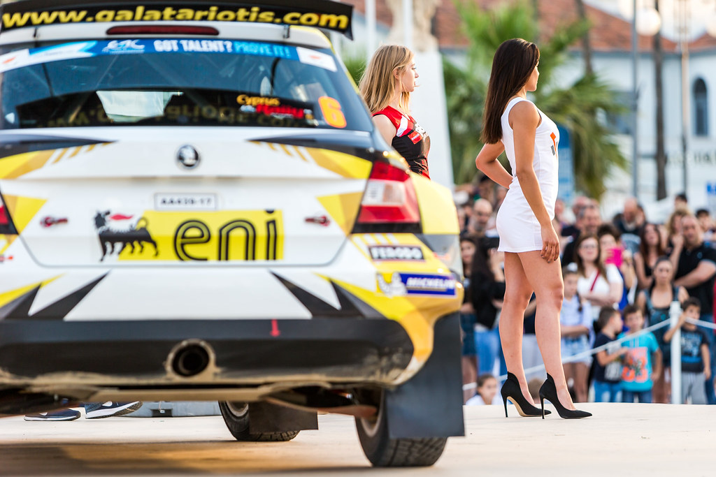 Girl and Car during the 2018 European Rally Championship ERC Cyprus Rally,  from june 15 to 17 at Larnaca, Cyprus - Photo Thomas Fenetre / DPPI