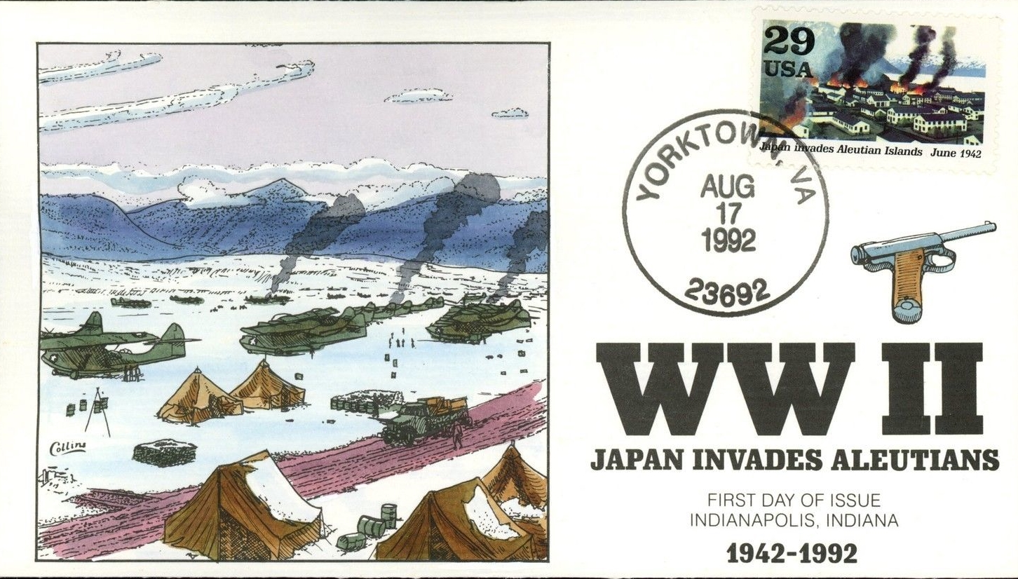 United States - Scott #2697e (1992) first day cover; Yorktown, Virginia [unofficial] cancellation; Collins hand-painted cachet.