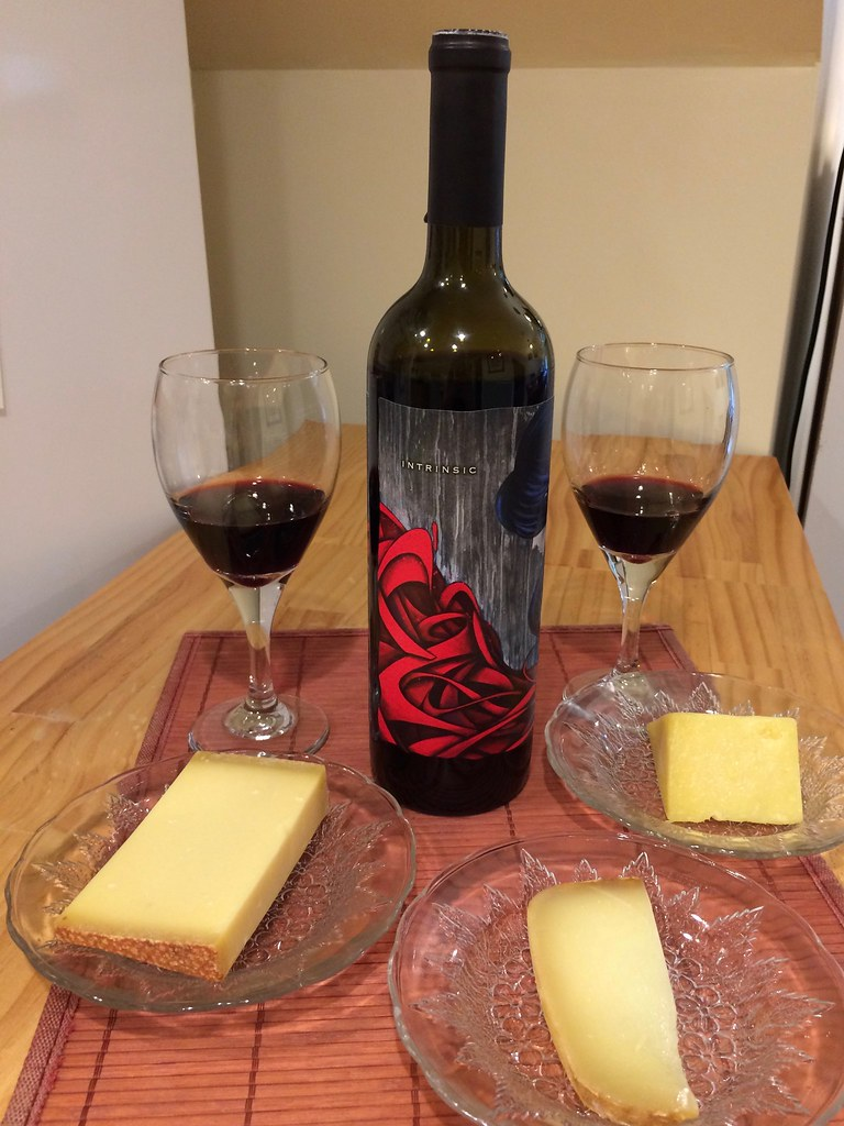 Intrinsic Red Blend and Borough Market Cheddar, Cave Aged Gruyere and Pyrenees Brebis
