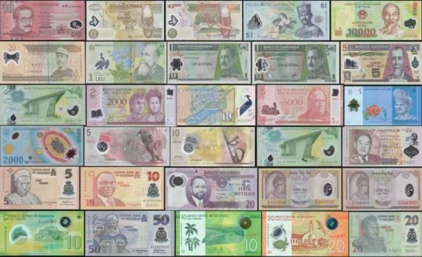 30 rôznych polymerových bankoviek svet