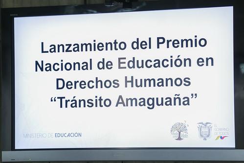 """Lanzamiento del Premio Nacional de Educación en Derechos Humanos """"Tránsito Amaguaña"""""""