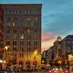 F Street sunset, Romanesque Revival edition