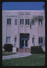 Masonic Temple, straight-on view, Mineral King Avenue, Visalia, California (LOC)