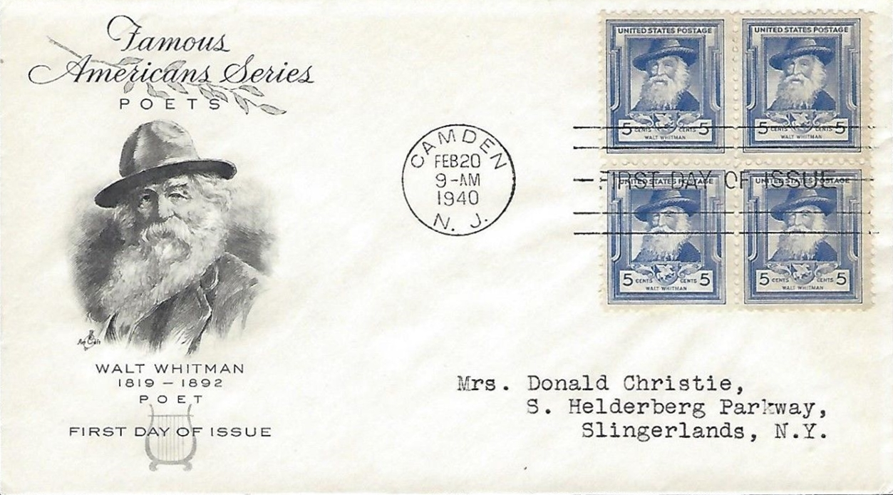 United States - Scott #867 (1940) first day cover, block of 4, ArtCraft cachet