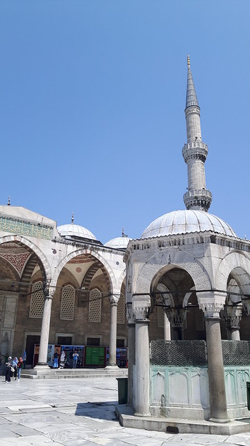 The decorative inner courtyard and fountain in the Blue Mosque