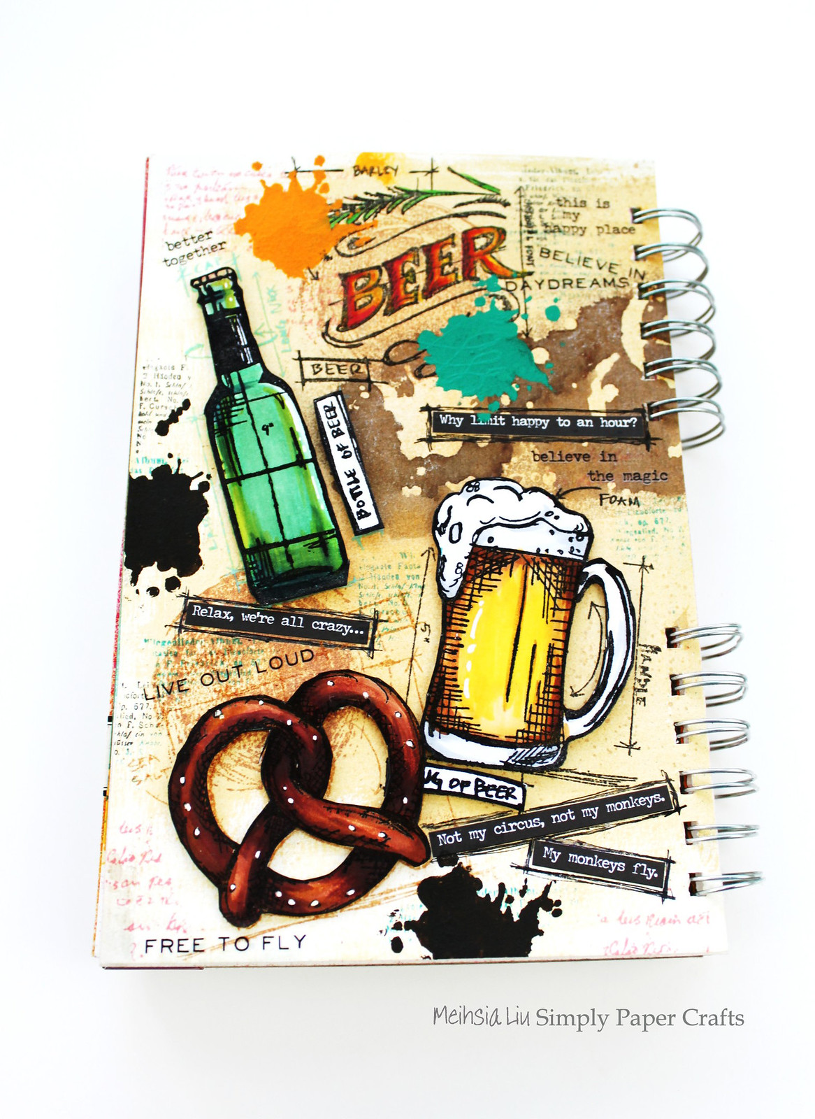 Meihsia Liu Simply Paper Crafts Mixed Media Tag Food Drink Beer Simon Says Stamp Tim Holtz 1