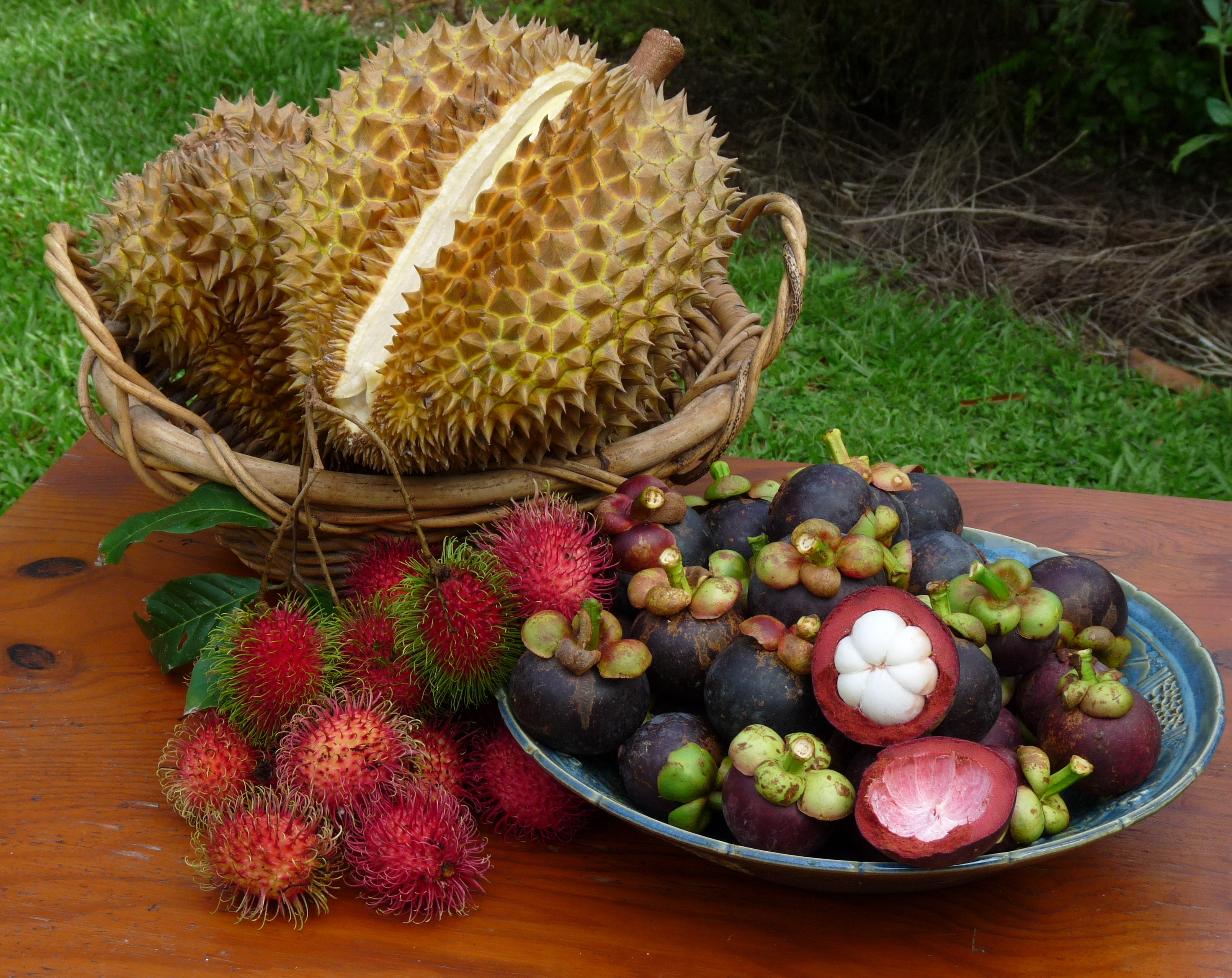 Durian, rambutan and mangosteen. Photo taken on March 20, 2010.