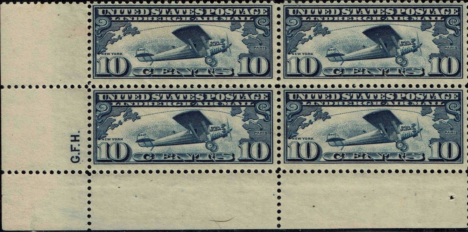 United States - Scott #C10 (1927) block of 4 from lower left sheet position with the initials of siderographer George F. Henlock.