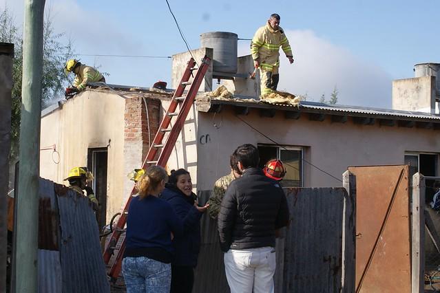 Incendio total de una vivienda