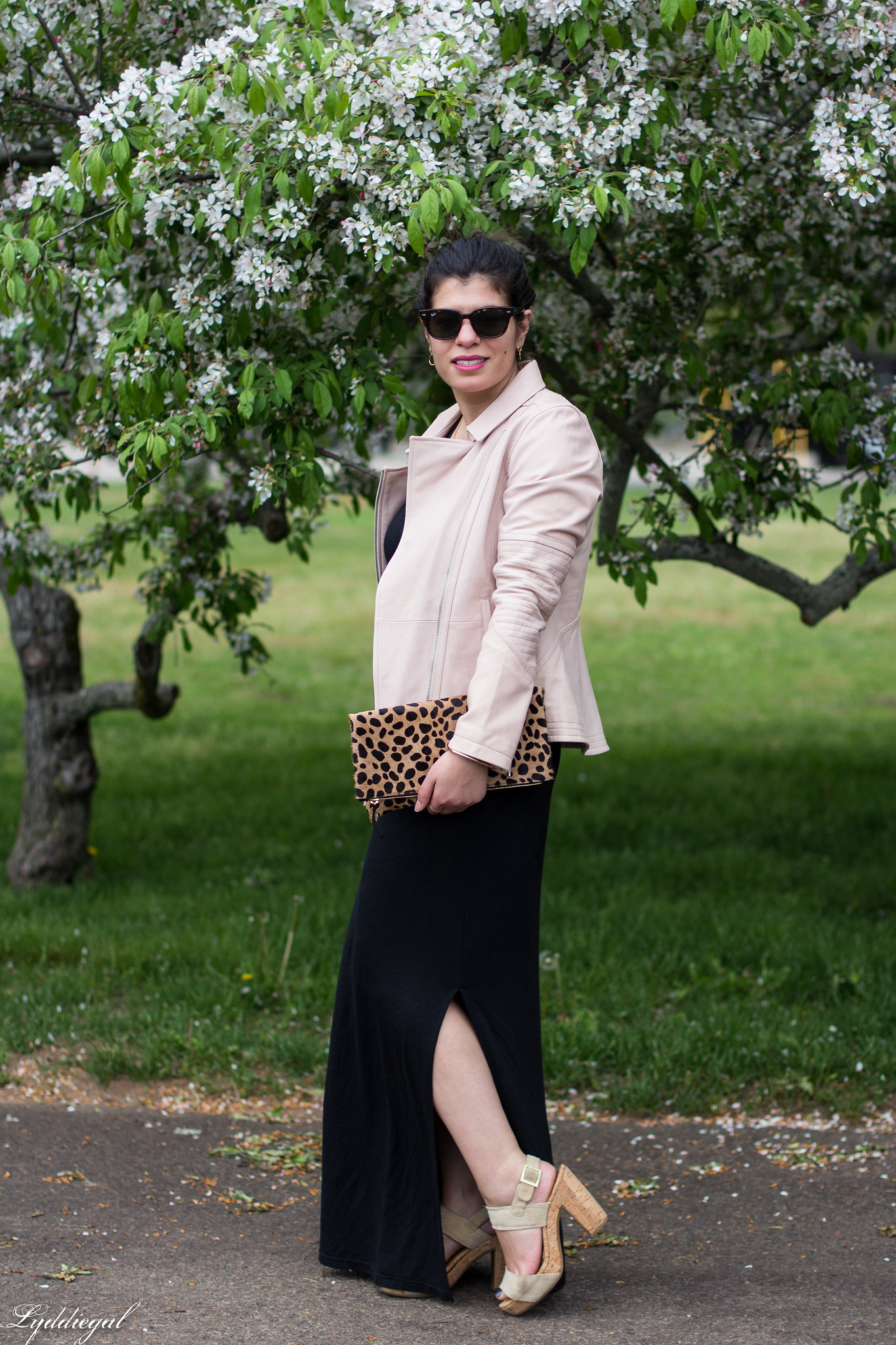blush leather jacket, black maxi dress, leopard foldover clutch-5.jpg