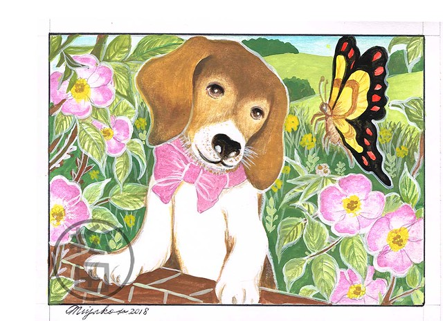 Beagle with a butterfly and wild roses