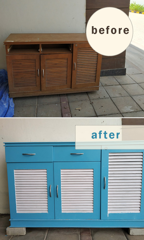 before and after of a cabinet makeover painting