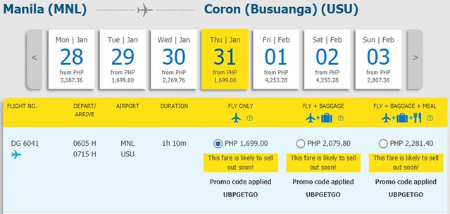 Manila to Coron Cebu Pacific Promo January 31, 2019