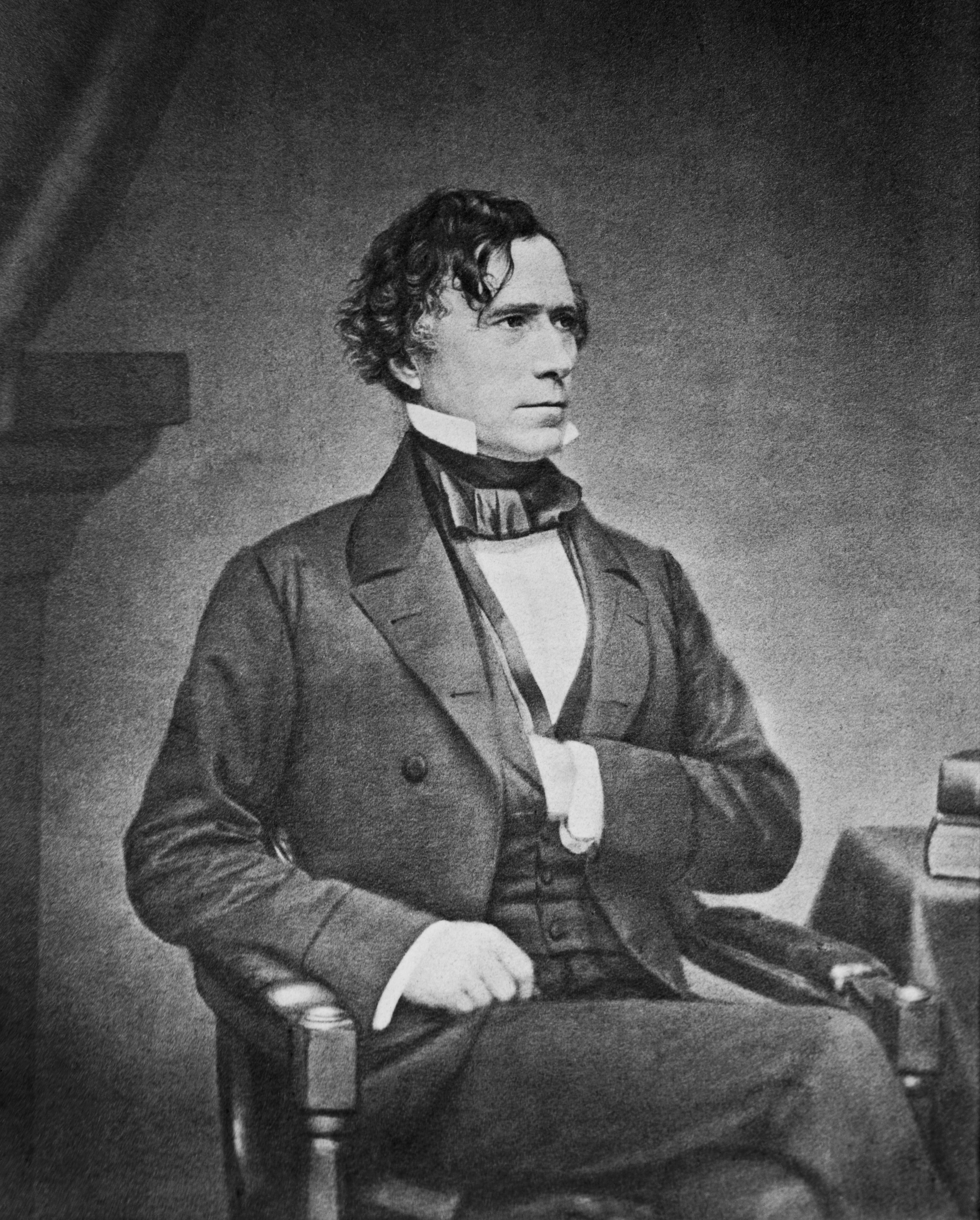 Portrait of Franklin Pierce (1804–1869) by Mathew Brady, taken between 1855 and 1865. The Library of Congress describes this as