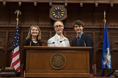 Rep. Arthur O'Neill joined Shepaug High School students Bridget Snyder and Wilson King  on the dais during a tour of the House of Representatives.  Earlier, the students were presented with the Connecticut Global Engagement Certificate during a ceremony at the Capitol