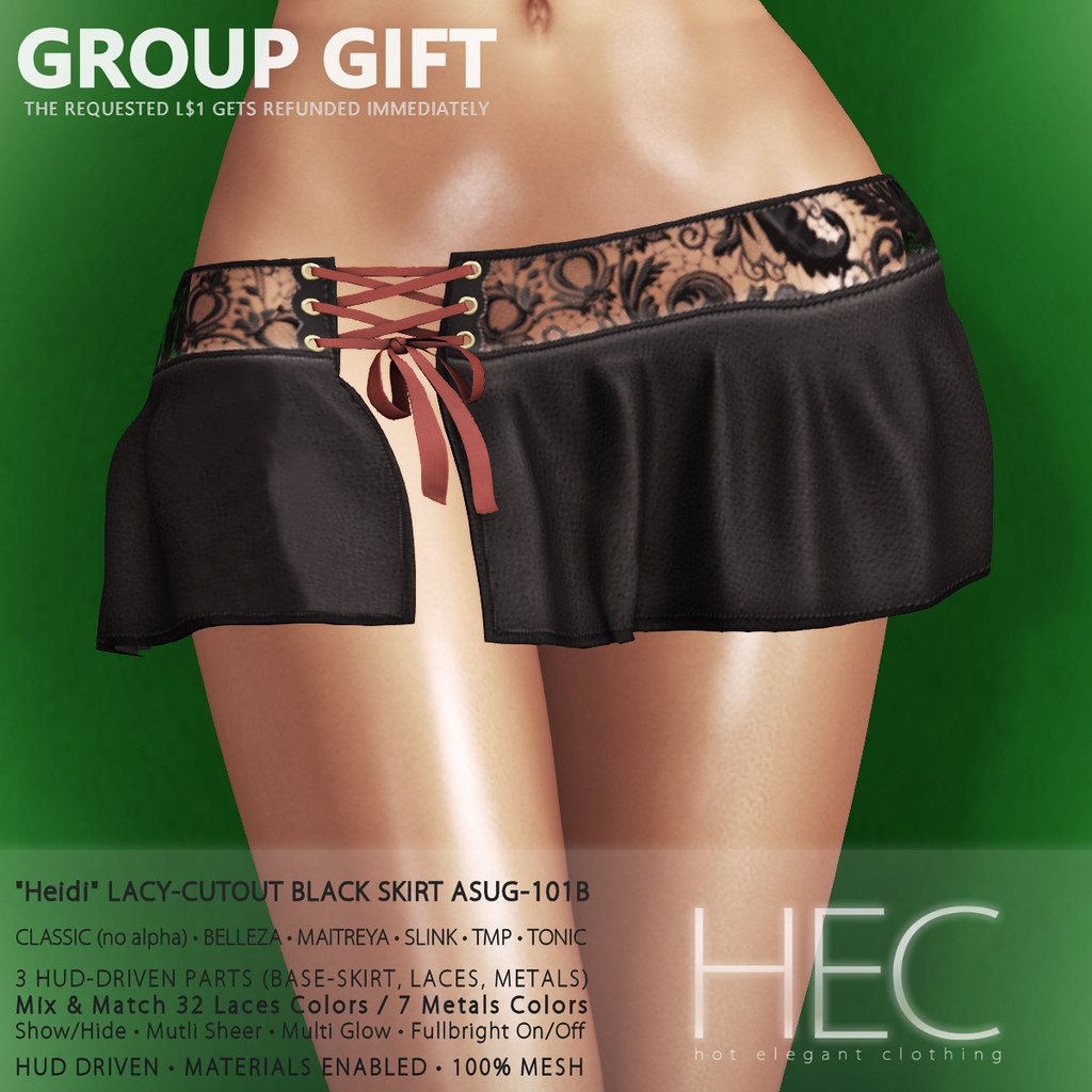 HEC (GROUP GIFT) • HEIDI Lacy-Cutout BLACK Skirt GIFT ASUG-101B