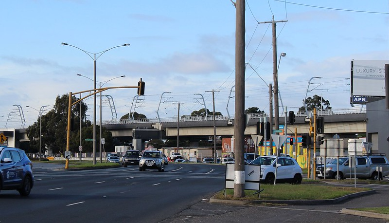 View of Caulfield to Carnegie skyrail, from Dandenong Road 16/6/2018