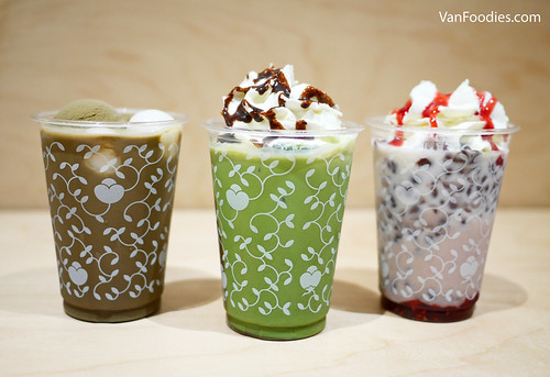 Hoji-cha Shiratama Float, Matcha Chocolate Latte, Azuki Strawberry Latte