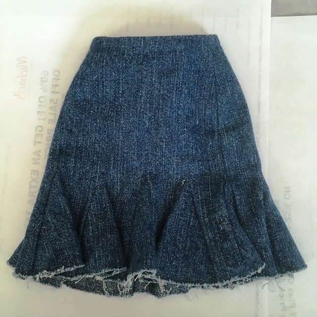 Hugo skirt - quite the work in those gores. With unfinished hems being popular this skirt will be very fashionable.  Fits Lishe sized dolls 20