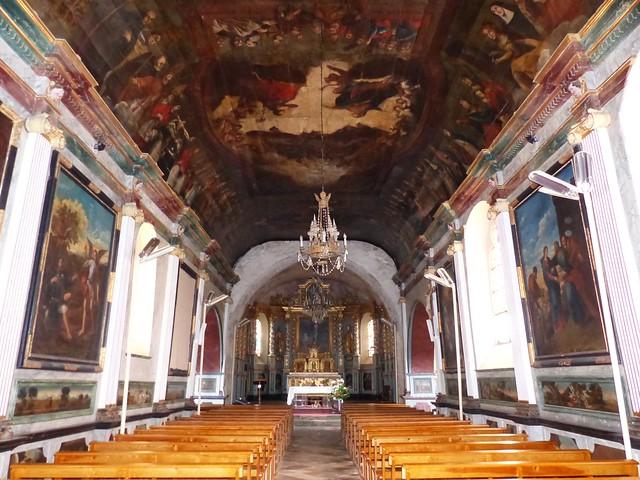 Quelle est cette église? Église Saint-Martin, Lévignacq, Landes, classée aux monuments historiques. Peintures murales de 1713-1715 du peintre bordelais Fautier, membre de l'académie de Paris.
