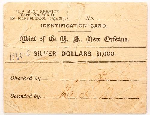 1860-0 Silver Dollar Bag Label