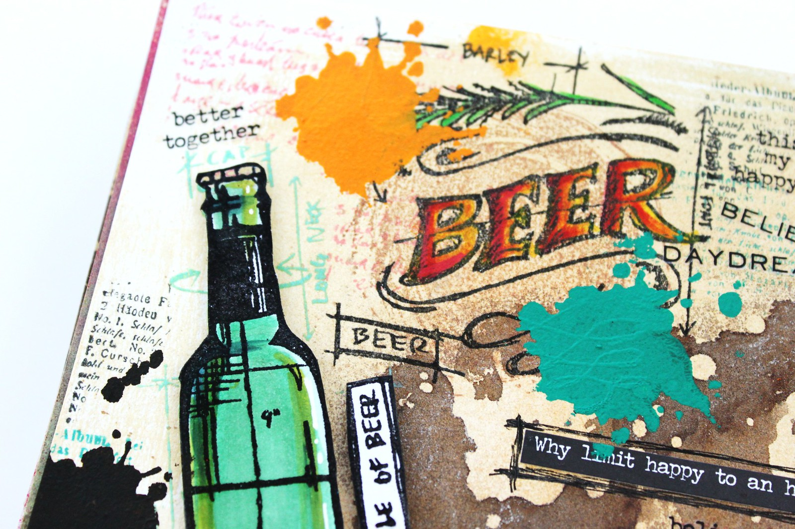 Meihsia Liu Simply Paper Crafts Mixed Media Tag Food Drink Beer Simon Says Stamp Tim Holtz2