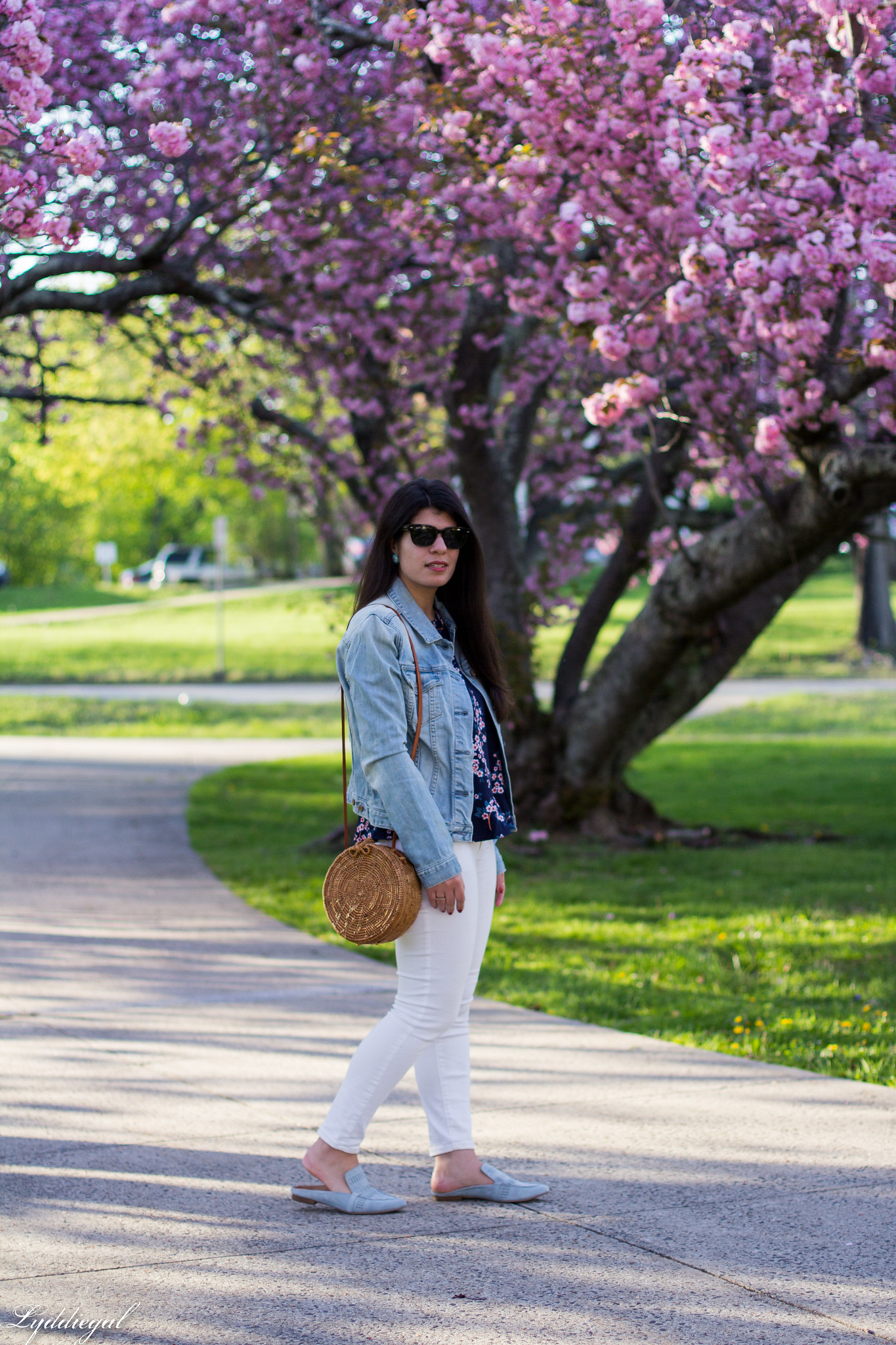 denim jacket, cherry blossom print blouse, white jeans, blue loafers-3.jpg