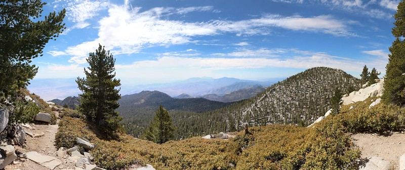 Panorama view south and east from the San Jacinto Peak Trail as we head downhill