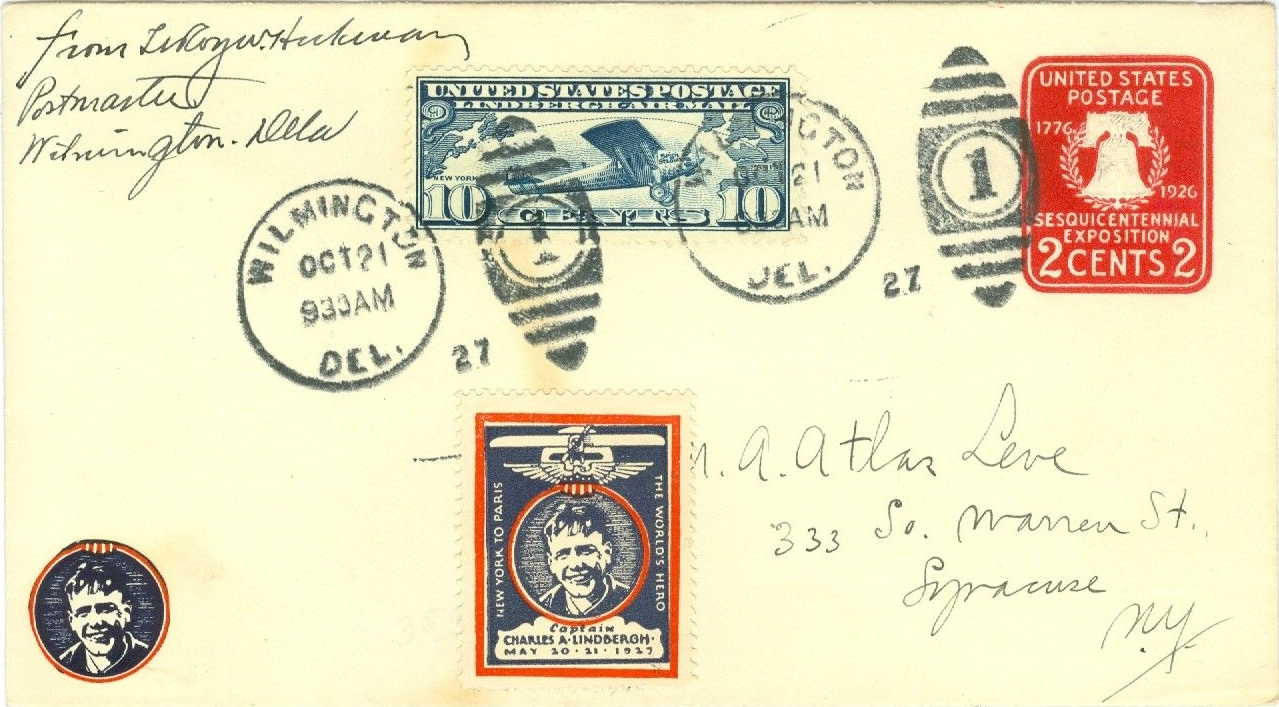 Cover posted during Charles Lindbergh's visit to Wilmington, Delaware, on October 21, 1927.